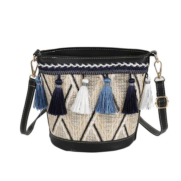 New Vintage Women Weaving Tassel Shoulder Bag Messenger Bag Crossbody Bags Girls Cute Handle Straw Bags Bucket Shape Tote