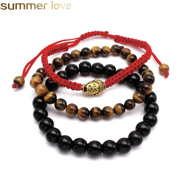 3 Pcs/ Lot Beads Bracelets Red String Rope Braided Bracelet Men Bead Buddha Tiger Eye Beads Black Natural Stone Wholesale Jewelry For Men Wo