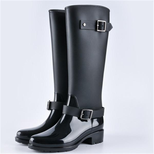 2019 Yeni Moda Kadın Ayakkabı Punk Stil Topuk Sürme Çizmeler Fermuar Ayakkabı Şövalye Uzun Çizmeler Kadın Yağmur Büyük Boy 36-40