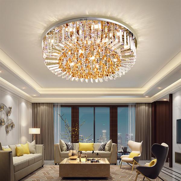 Plafoniera a LED Americano moderno rotondo K9 Plafoniera di cristallo Home Indoor Apparecchio di illuminazione Telecomando 3 colori bianchi Dimmerabile