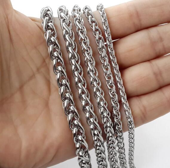 wholesale silver 5meter Lot Jewelry Making Findings Stainless Steel Wheat Braid Chain huge 8mm heavy Wheat Spiga Rope Chain DIY jewelry