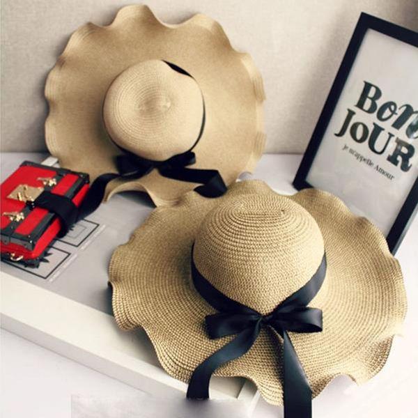 Senhora verão Aba Larga Chapéus Moda Praia Casuais Tampas de Proteção Solar para As Mulheres Dobrável Chapéu De Palha Estilo Boêmio Protetor Solar Caps
