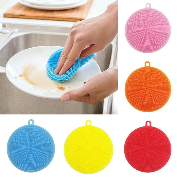 Colorful Multifunzione Silicone Dish Bowl Magic Cleaning Brush Scouring Pad Pot Pan Wash Brushes Facile da pulire Kitchen Cleaner Tool con dhl