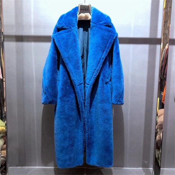 100% alpaga réel Manteau de fourrure des femmes d'hiver Costume manches longues Nature Ours en peluche manteaux de fourrure Pardessus Femme Veste véritable Fourrures