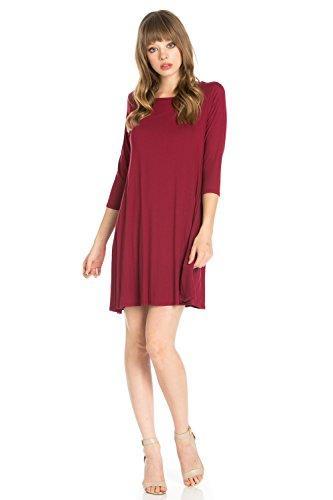 Junky Closet Women's 3/4 Sleeve Solid Side Pocket A-Line Tunic Dress