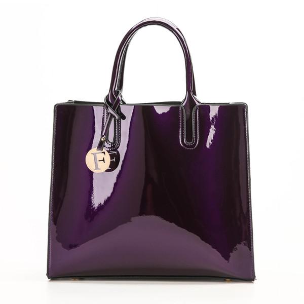 Helle feste Lackleder-Frauen-Art- und Weisebeutel-Damen-einfache Luxuxhandtaschen-beiläufige Schulter-Kurierbeutel-Beutel ein HauptTote Bag Y19051502