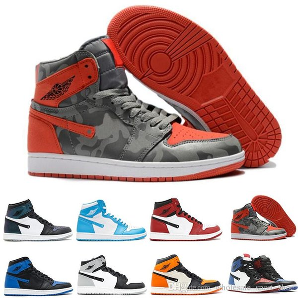classic 1 high top UNC Metallic Red basketball shoes sneakers GS bred banned Top 3 royal black reverse shattered backboard Black Toe Chicago