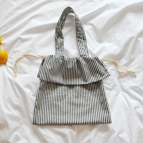 Amorvivi 2019 Yeni İpli Edebi çizgili pamuklu ve keten çanta Omuz çantası Basit İpli