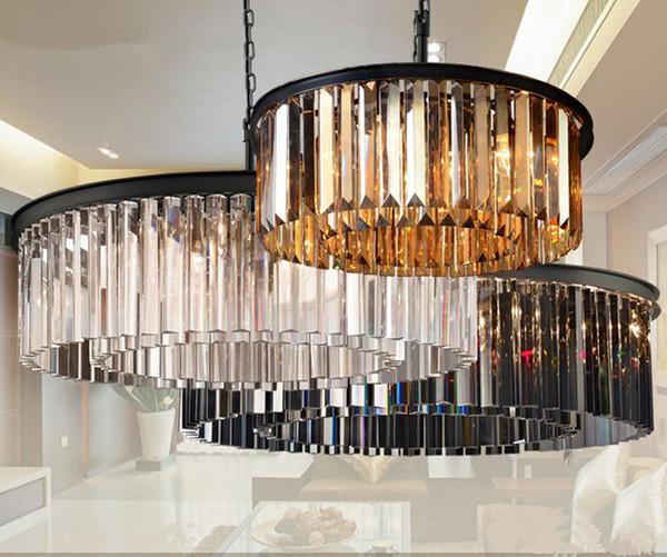 American RH tubo di cristallo a soffitto a sospensione lampada a sospensione a LED circolare rotonda soggiorno seduta dinning lampada da soffitto retrò