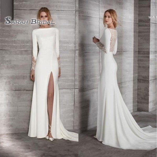 best selling 2019 Simple Long White Sheath Bride Dress High Split Sexy Evening Wear Formal Gown High-end Wedding Boutique