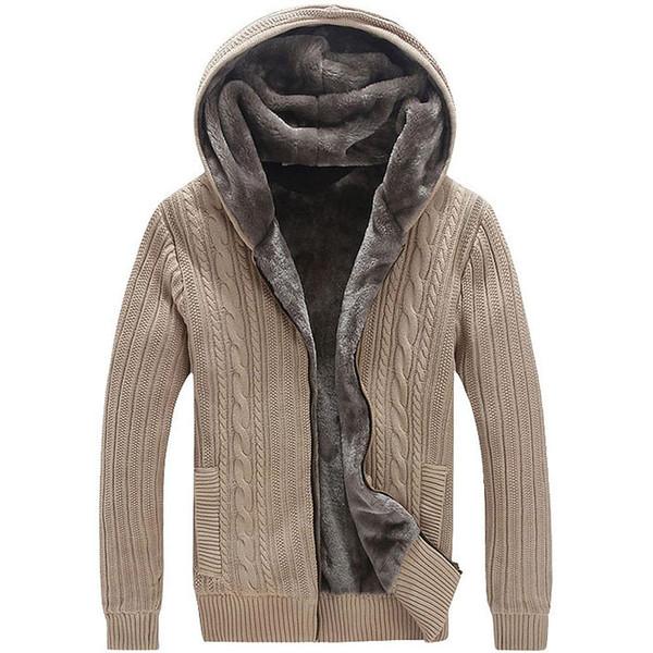 El invierno caliente grueso para hombre de los suéteres / Casual de imitación de piel forro de punto suéter de la capa diseñador de los hombres con capucha rebecas tamaño grande para 5Xl envío