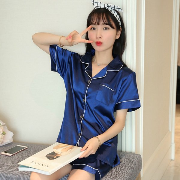 2019 New Summer Short Sleeve Silk Satin Pajama Set Two Piece Women Sleepwear Sexy Nightwear Women Shorts Pyjama Homewear Pijama Y19071901