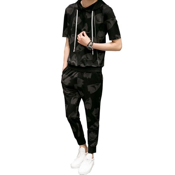 New fashion men's sportswear suit summer men's high-quality short-sleeved T-shirt nine pants sets of hooded sportswear