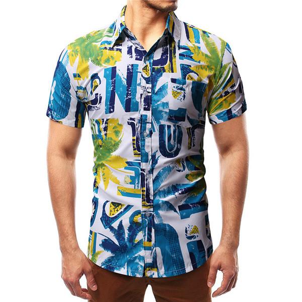 6eb5c239e8fabd4 Кокосовый принт Мужские летние рубашки с коротким рукавом с отложным  воротником Модные рубашки Подростковая бизнес одежда