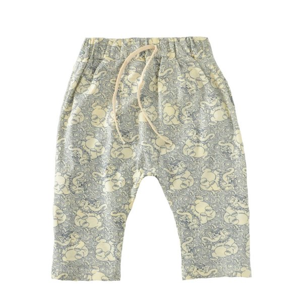 Boy Calf Elephant Pants Cartoon Printed Elastic Band Baby Short Pants Cotton Blending Middle-waisted Pants 2-6T