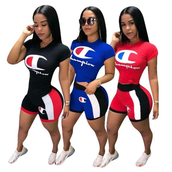 Женщины чемпионов письмо принт спортивный костюм с коротким рукавом футболка топ + шорты цвет матча 2 шт. Комплект одежды спортивный тренажерный зал пэчворк костюм S-XXL A43006