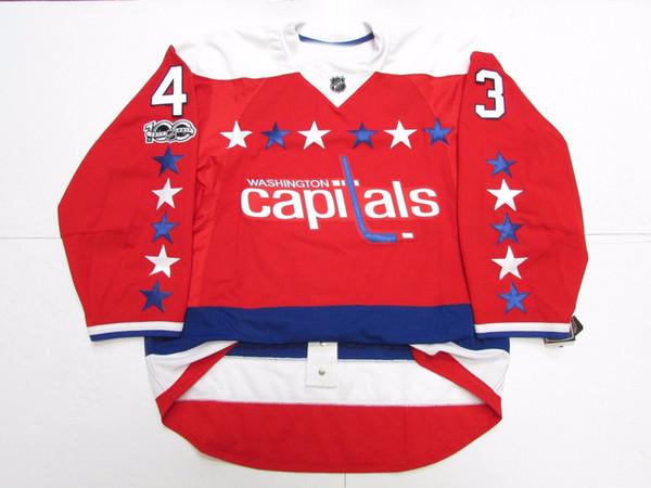 Дешевые пользовательские WILSON WASHINGTON CAPITALS третий 100-летний юбилей Джерси стежок добавить любое число любое имя мужской хоккей Джерси XS-5XL