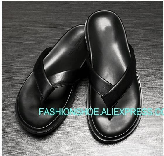 Black Flip flops Lazy Shoes Summer Hot Beach Sandals for men Rome Style Man Slippers