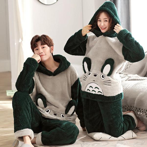 Couple d'hiver chaud Pyjama Thicken Nouveau unisexe adulte Mignon Set Pyjama Homme capuche manches longues Vêtements de nuit Vêtements mignons Accueil Cartoon