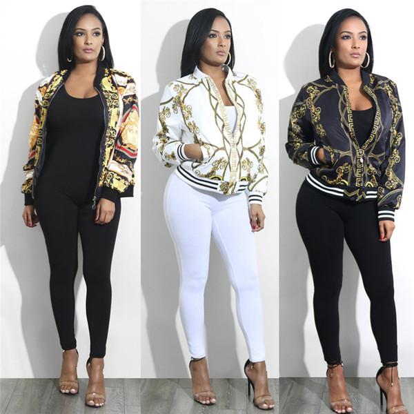 Designer de luxo Das Mulheres Jaqueta de Ouro Outono Cadeia Impresso Casaco de Manga Longa Das Mulheres de Moda Casaco Curto Casuais