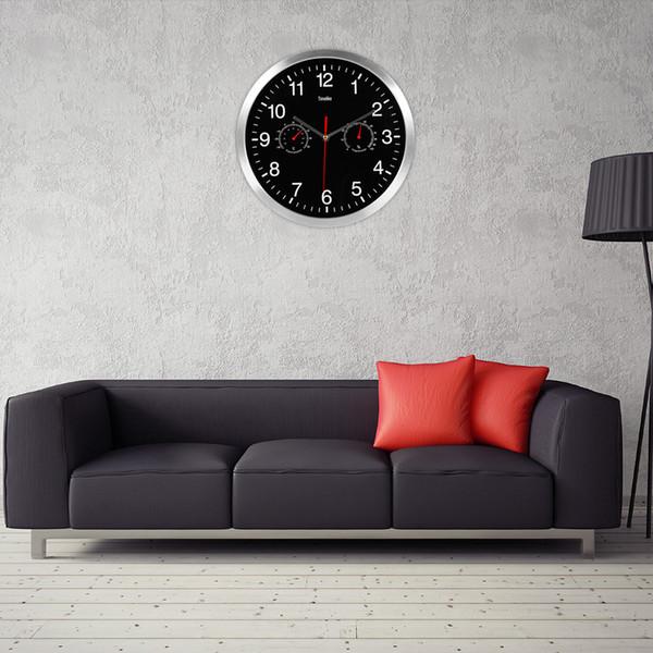 Termómetro higrómetro n-marcando Inicio la decoración del arte nuevo diseño 2019 de metal reloj de pared de cuarzo silencioso Quiet Sweep Movimiento ZJ0451