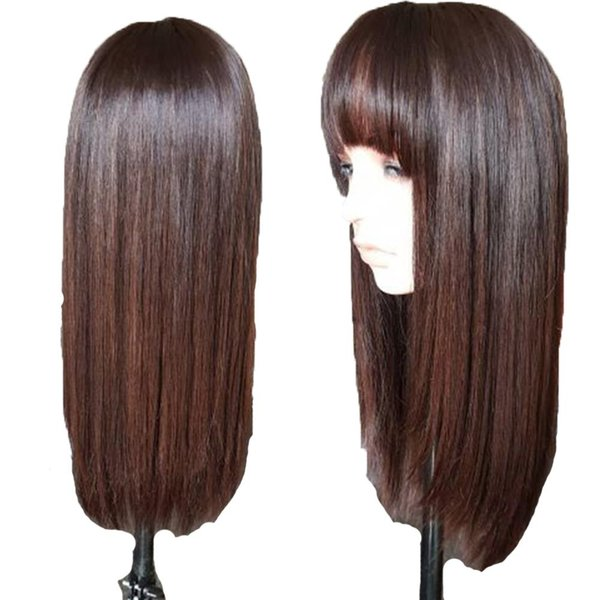 Highlights 4 360 Lace Frontal Human Hair Wigs With Bangs For Black Women Brazilian Straight Lace Front Wig Remy Hair