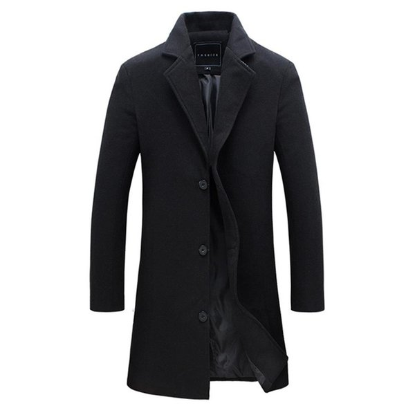 top popular 2018 Fashion Men's Wool Coat Winter Warm Solid Color Long Trench Jacket Male Single Breasted Business Casual Overcoat Parka 2021