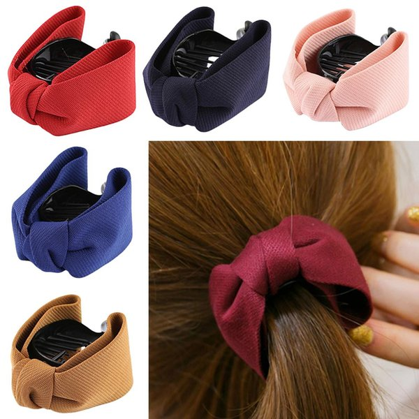 Solid color sweet style bow hairpin elegant female solid cloth strip tail clip bow clip ponytail girl hair accessories hair