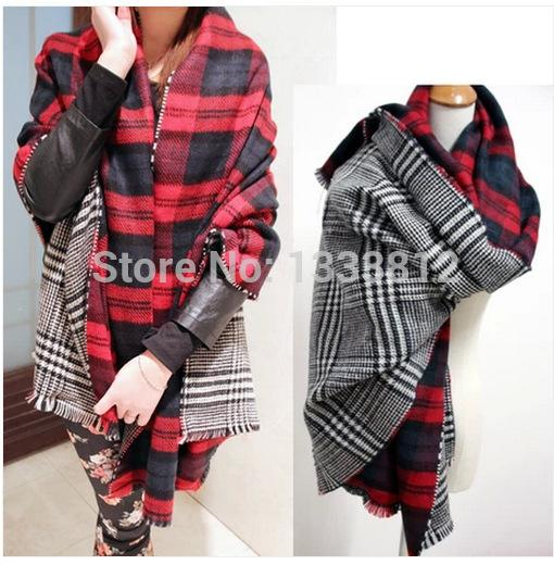 Cheshanf New 2019 Double Sided Large Plaid Houndstooth Scarf Soft Super thick Warm Scarf Tassel Shawl Scraf