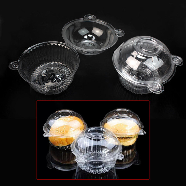 Disposable Transparent Clear Food Grade Plastic Single Cupcake Muffin Holders Cake Cases Boxes Pods Cups Container 50pcs/set