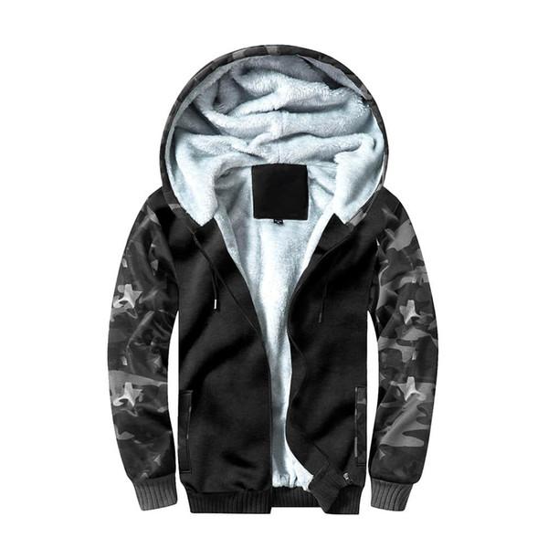 Мужские дизайнер камуфляж толстый теплый флис полный Zip Подкладка куртки с капюшоном на открытом воздухе вскользь толстовки с карманами ветрозащитный пальто Толстовка