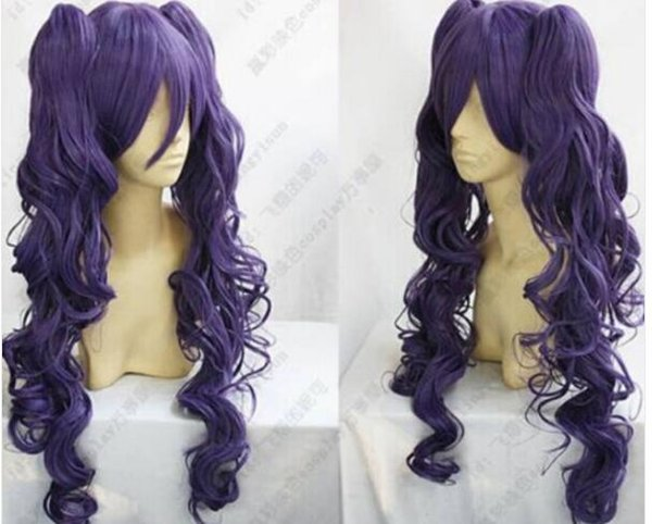 FREE SHIPPING + + Fashion Lolita Long Dark Purple Short Wig + 2PC Long Curly Clip Ponytail Wigs