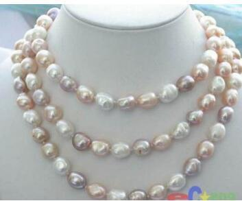 """Free Shipping Hot sale new Style >>>>>NEW long 48 """"8-9mm baroque multicolor freshwater pearl necklacearl necklace"""
