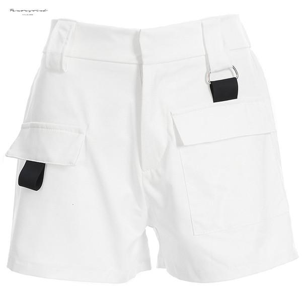 High Woman Waist Shorts Summer Casual Zipper Fly Pocket Shorts Cotton Solid Loose Feminino Womens Straight Shorts