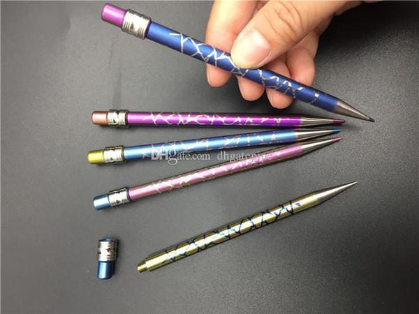 Novo Design Titanium Dabber Estilo Lápis Forma Pyrex óleo de cera Dabber Ferramenta anodizado Para Bong água De Vidro carb fumar unhas