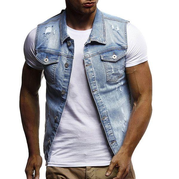 2019 SHUJIN Men Slim Fit Sleeveless Jeans Jacket 2019 Summer Fashion Classic Denim Vest Black Turn Down Collar Jeans Waistcoat T200117 From Xue04,