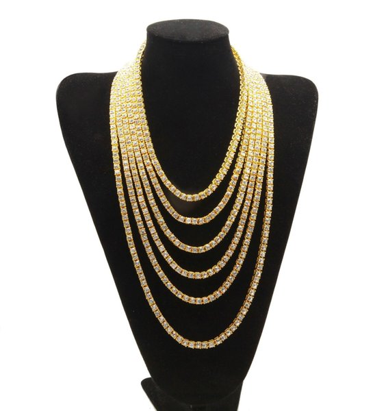 2019 explosion models men's hip hop 1 row full rhinestone alloy hip hop necklace European and American fashion jewelry