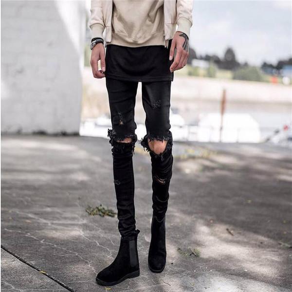 2018 New Fashion Men Holes Jeans European High Street Motorcycle Biker Jeans Men Hip Hop Ripped Slim Jeans pants Dropshipping