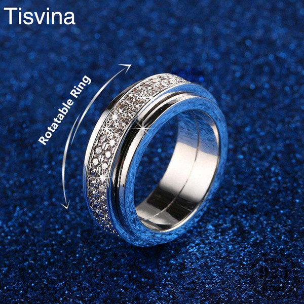 Tisvina Shiny Double Row full CZ Rotatable Ring for Women Jewelry Occident Fashion Brand Wedding Party Female Rotating Ring