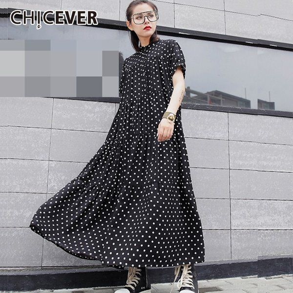 Chicever Chiffon Polka Dot Women's Dresses Female Stand Collar Short Sleeve Loose Print Dress For Women Fashion Casual Clothes J190430