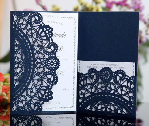 best selling Laser Cut Wedding Invitations OEM in 41 Colors Customized Hollow Folding Personalized Wedding Invitation Cards DB-HK116