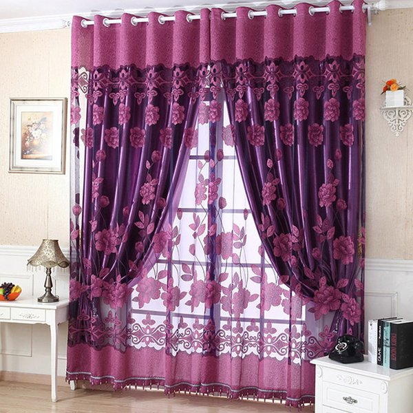Fashion Stylish Flower Tulle Door Window Curtain Drape Panel Sheer Scarf Valances 4 Colors Living Room Curtain One Piece Durable