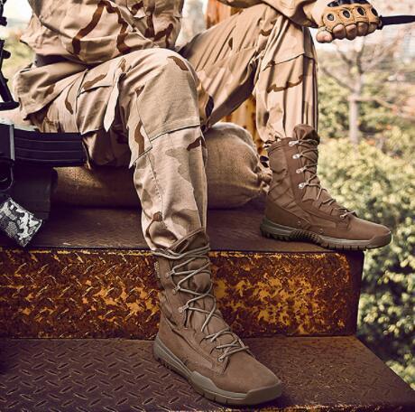 Açık büyük Erkekler Moda yüksek ordu aşınmaya dayanıklı özel kuvvetler taktik bot büyük çöl muharebe ayakkabı Sneaker yakuda eğitim antiskid