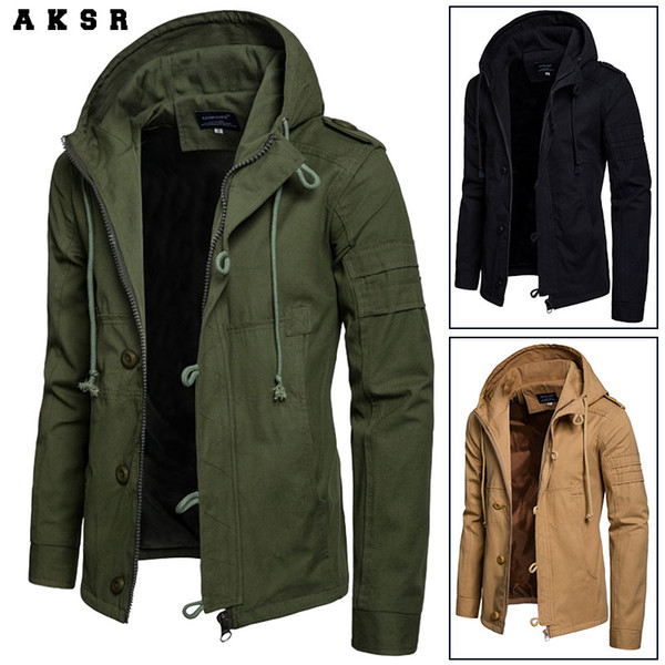 aksr autumn and winter new men's hooded cotton jacket cardigan sports outdoor jacket, Black;brown