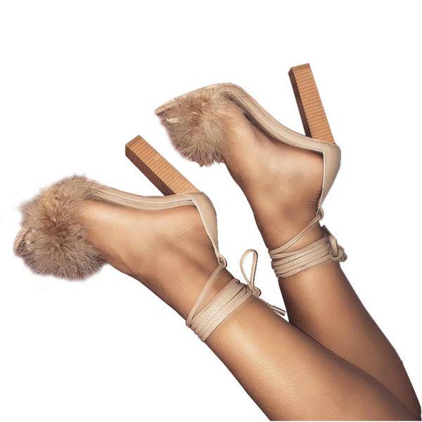 2019 Women Sandals High Heel Real Fur Feather Hairy Sandals Pumps Burgundy Bridesmaid Bridal Wedding
