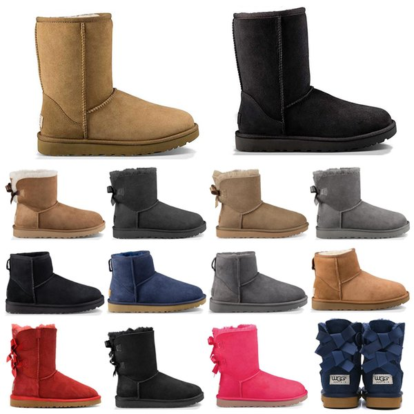 Hotsale WGG fashion designer women ankle winter Australia boots brown tall Bailey Bowknot womens work snow over the knee thigh high fur boot