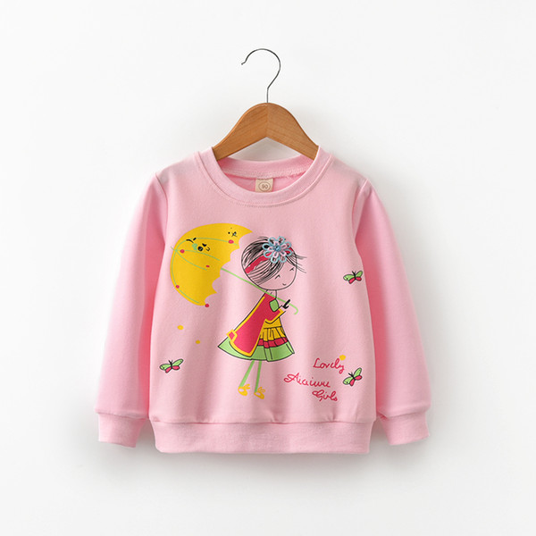 good quality spring girls t-shirts cartoon long sleeve tops casual sports tees toddler girls fashion sports clothing brand pullover