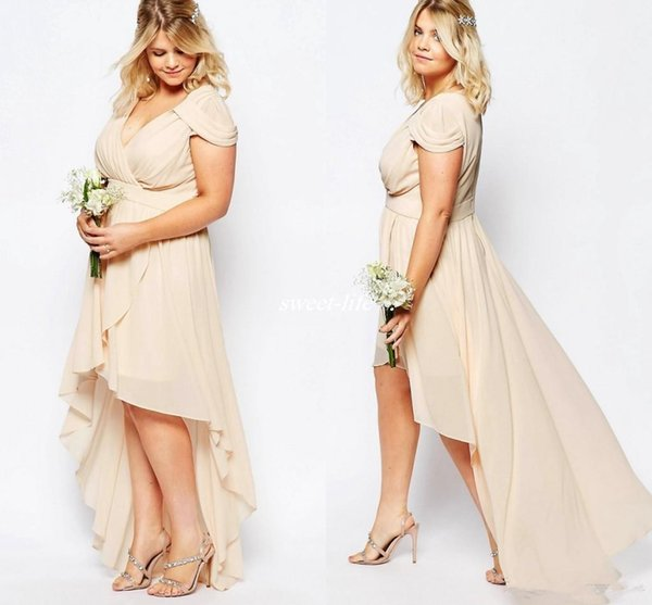 2019 Champagne Chiffon High Low Plus Size Beach Wedding Bridesmaid Dresses Short Sleeve Cheap Maid of Honor Party Gowns Prom Dresses