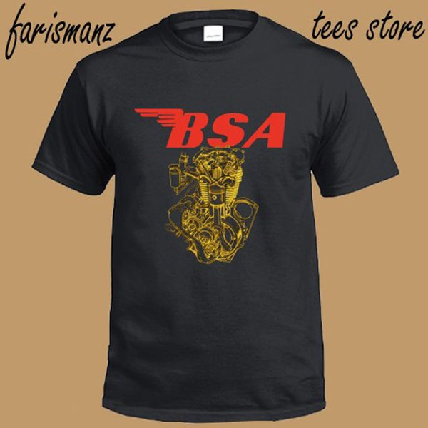 New BSA Motorcycle Old Retro Machine Logo Men's Black T-Shirt Size S to 3XL Hipster O-Neck Casual New Brand-Clothing Tee 2018 Summer