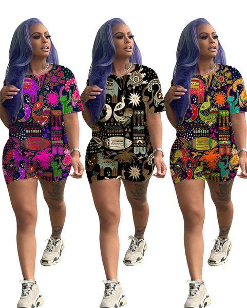 Summer Women Shorts Animal Print Hawai Style T Shirt Tops + Shorts 2 Piece Set Short Sleeve T-shirt Outfits Causual Sportswear Suit Clothing